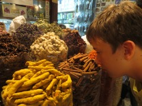 Jake sniffing his fav smell, Cinnamon at the spice Markets