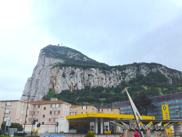 Ugly buildings and the impressive Rock of Gibraltar, spot the rocky windows that house the canons.