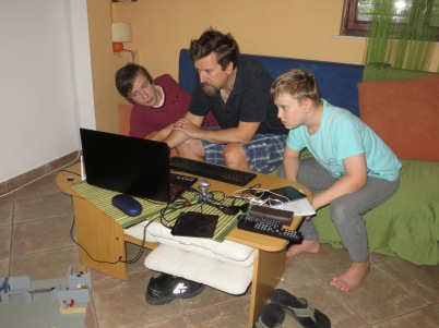 All the boys playing `Age of Empire'.