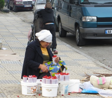 Selling berries on the Streets of Shkoder